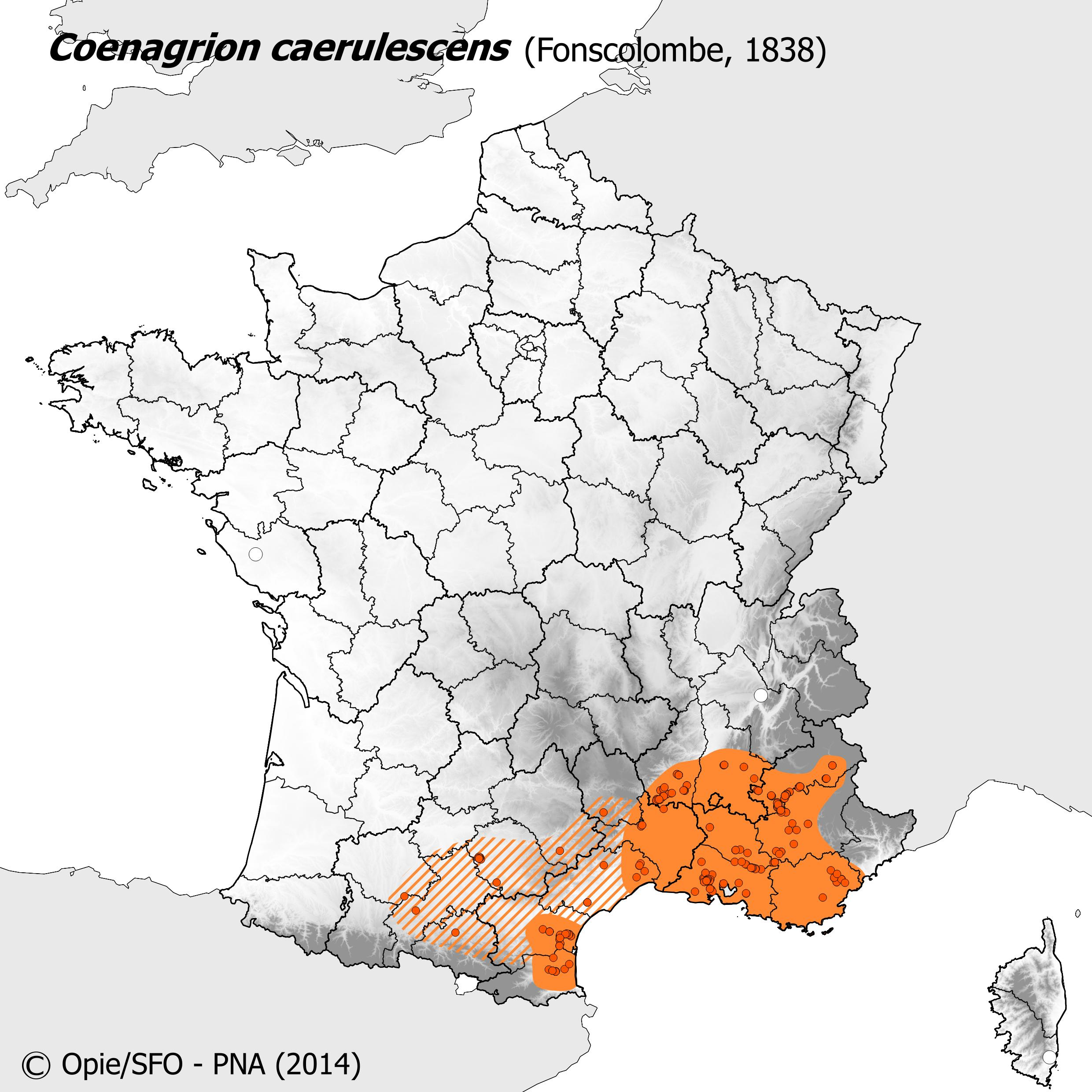 Plan National Actions Odonates | carte de repartition de coenagrion caerulescens