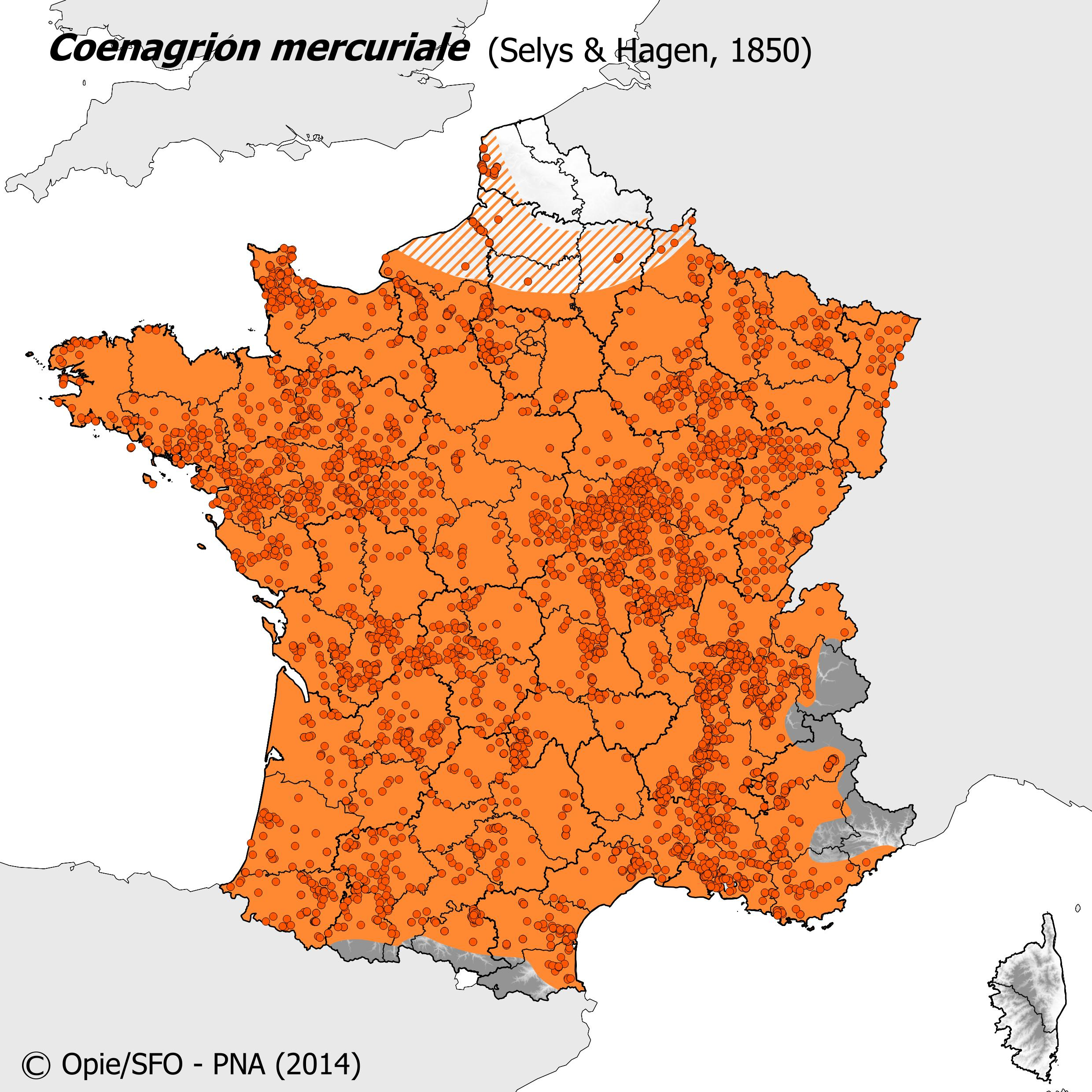 Plan National Actions Odonates | carte de repartition de coenagrion mercuriale