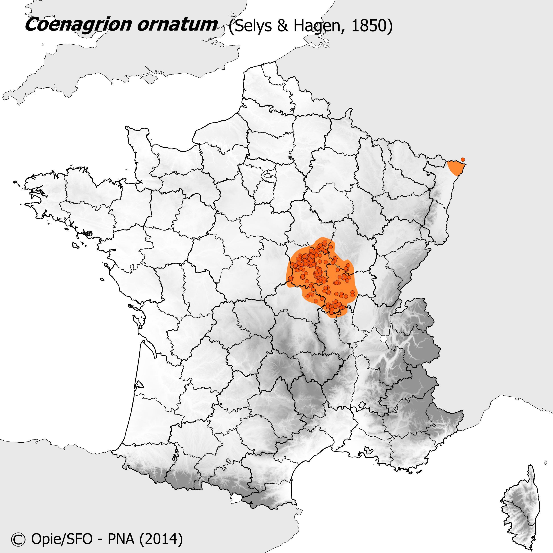 Plan National Actions Odonates   carte de repartition de coenagrion ornatum