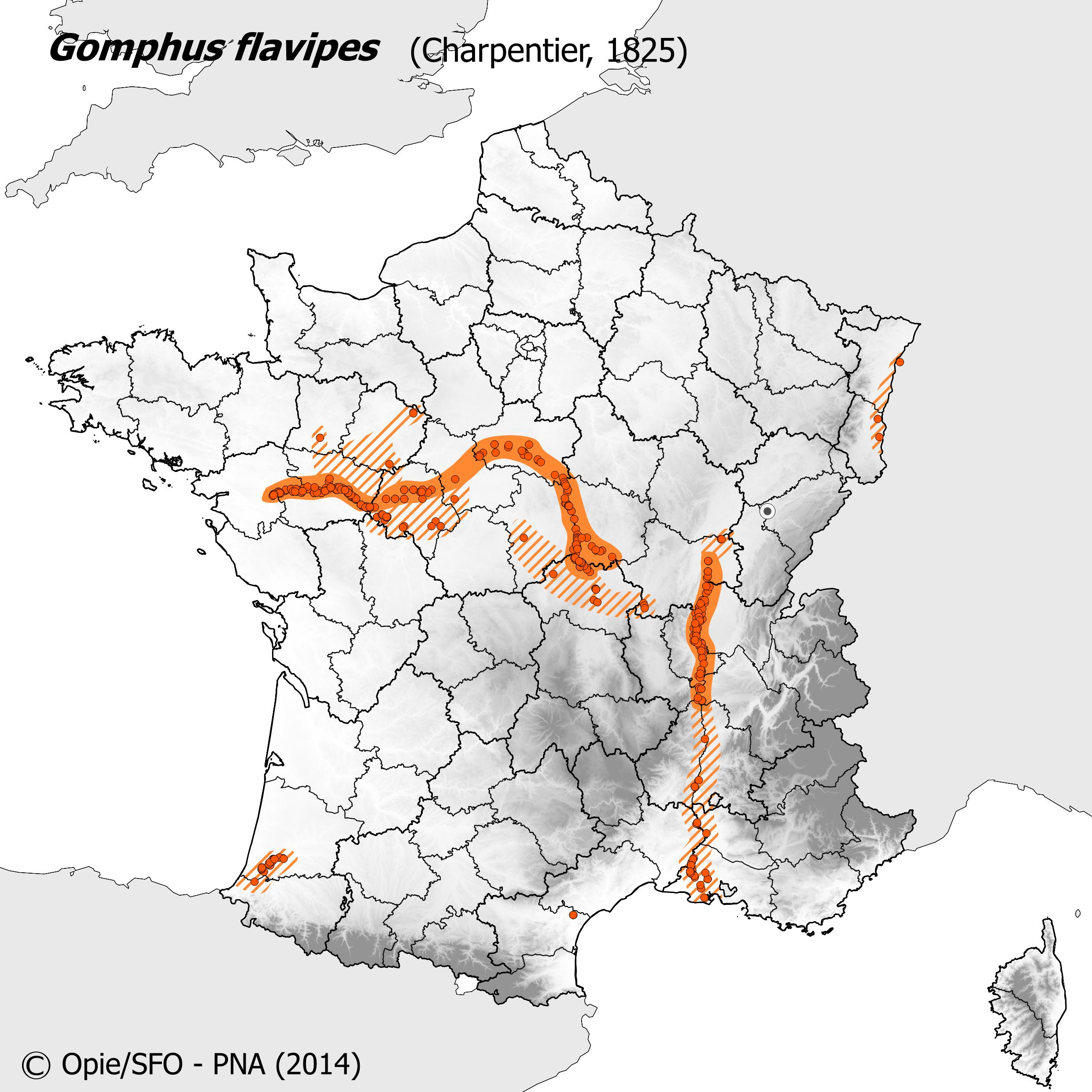 Plan National Actions Odonates | carte de repartition de gomphus flavipes