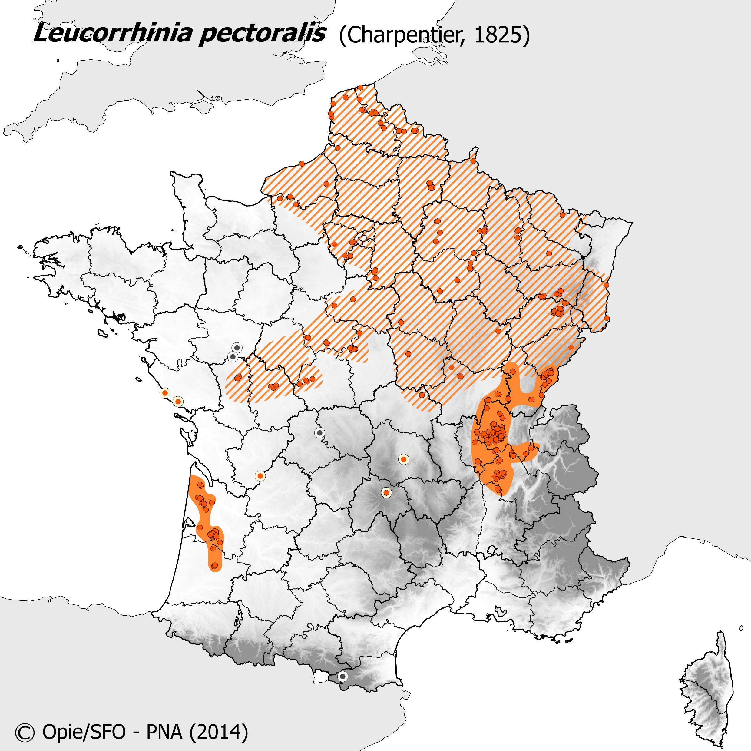 Plan National Actions Odonates | carte de repartition de leucorrhinia pectoralis