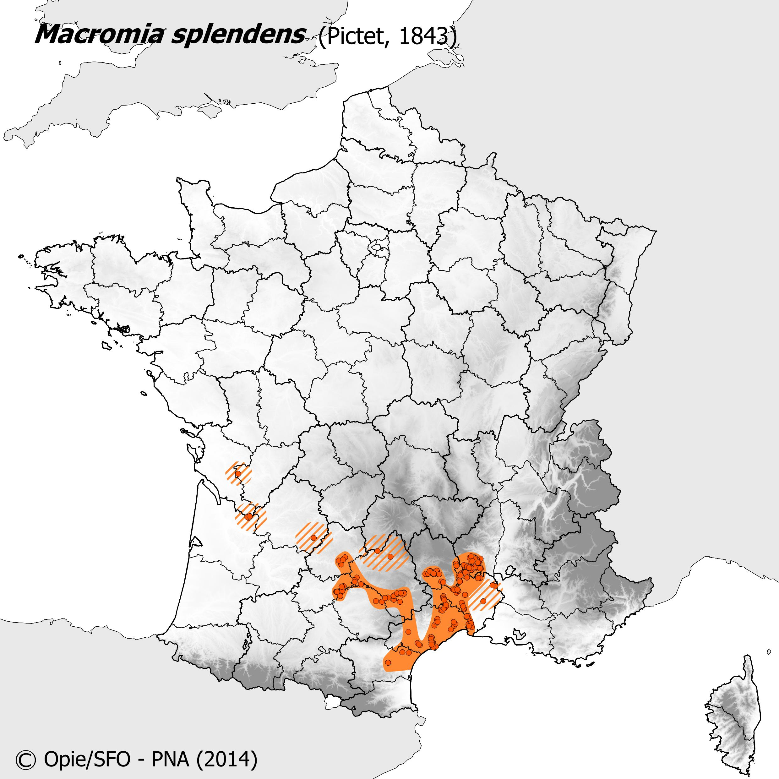 Plan National Actions Odonates | carte de repartition de macromia splendens