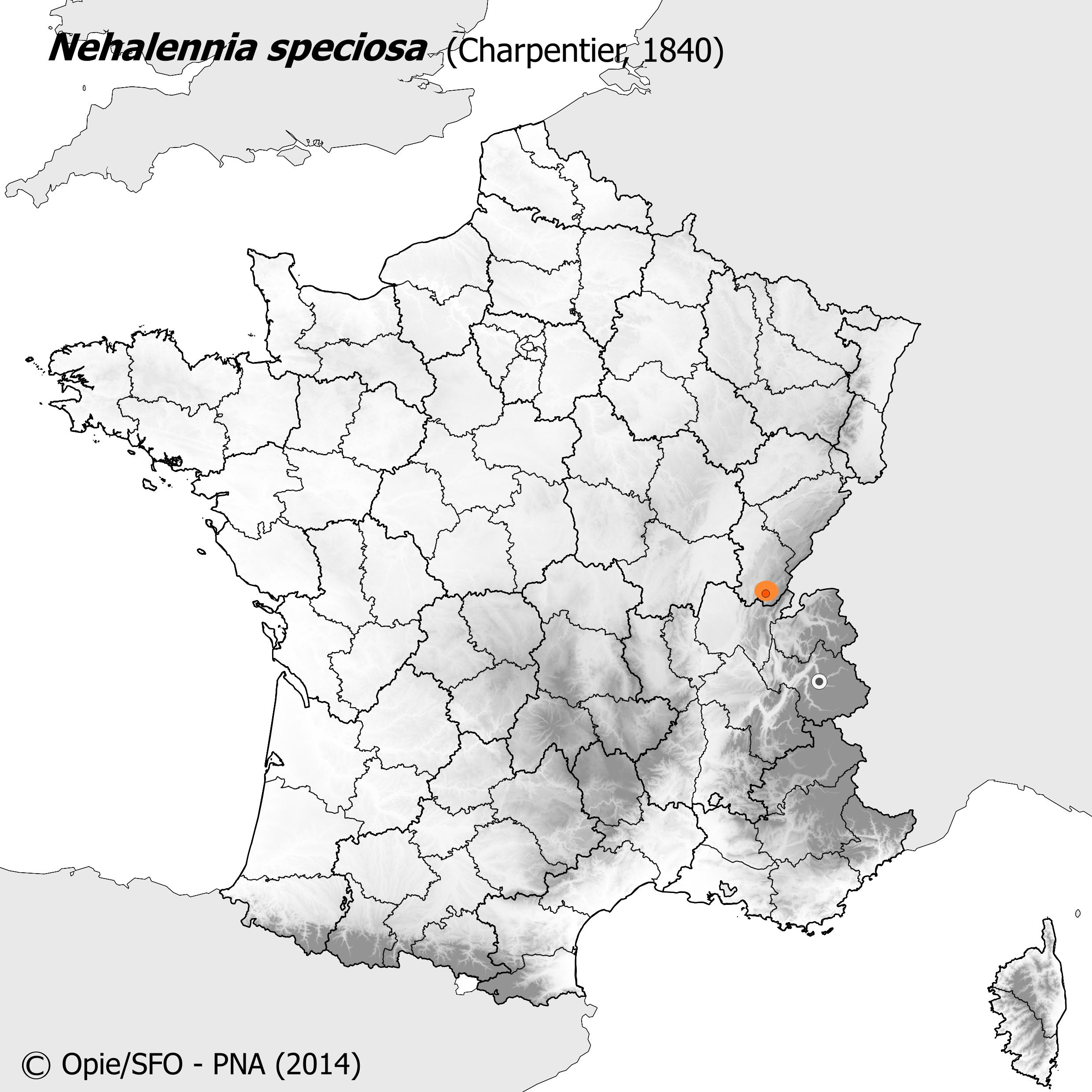 Plan National Actions Odonates | carte de repartition de nehalennia speciosa