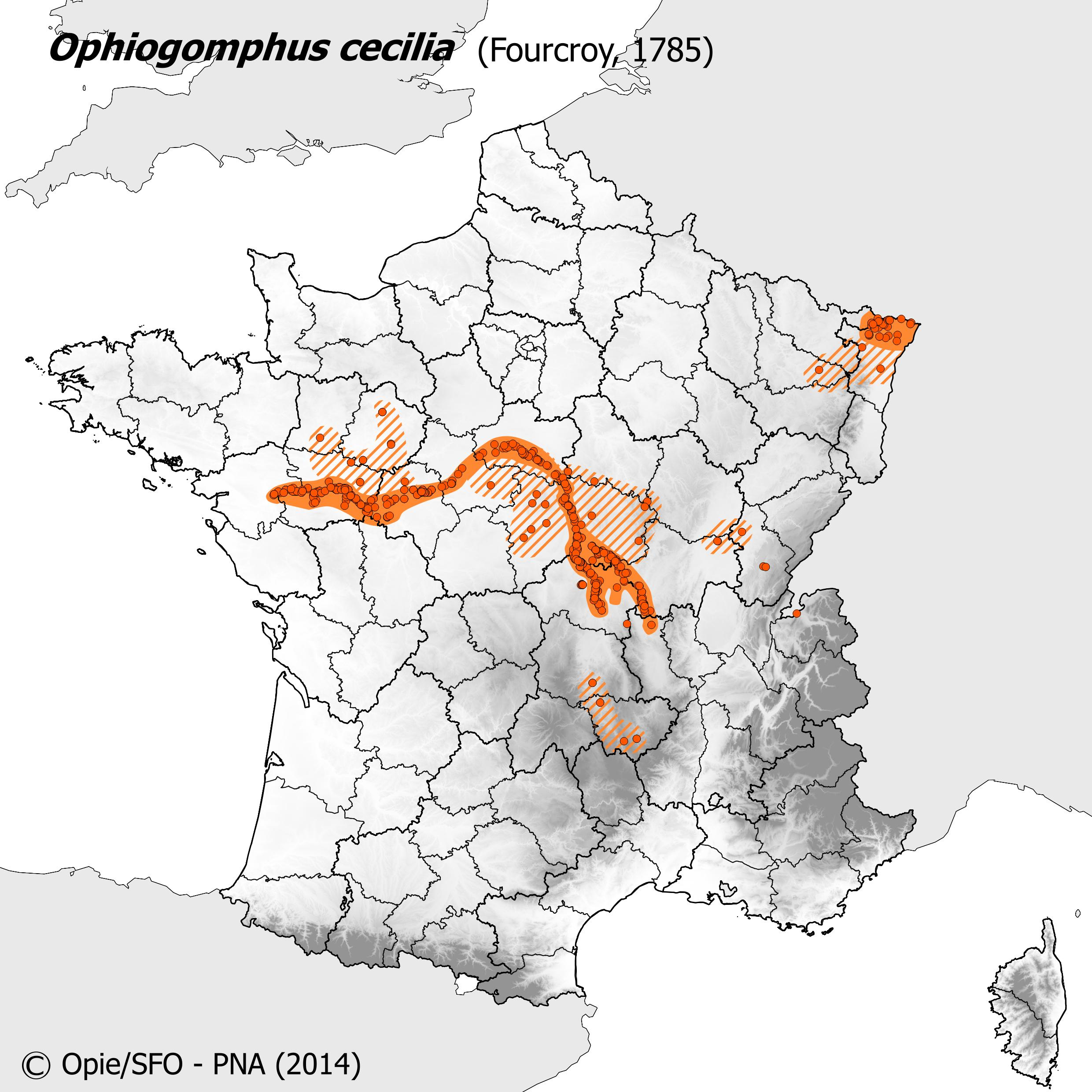 Plan National Actions Odonates | carte de repartition de ophiogomphus cecilia