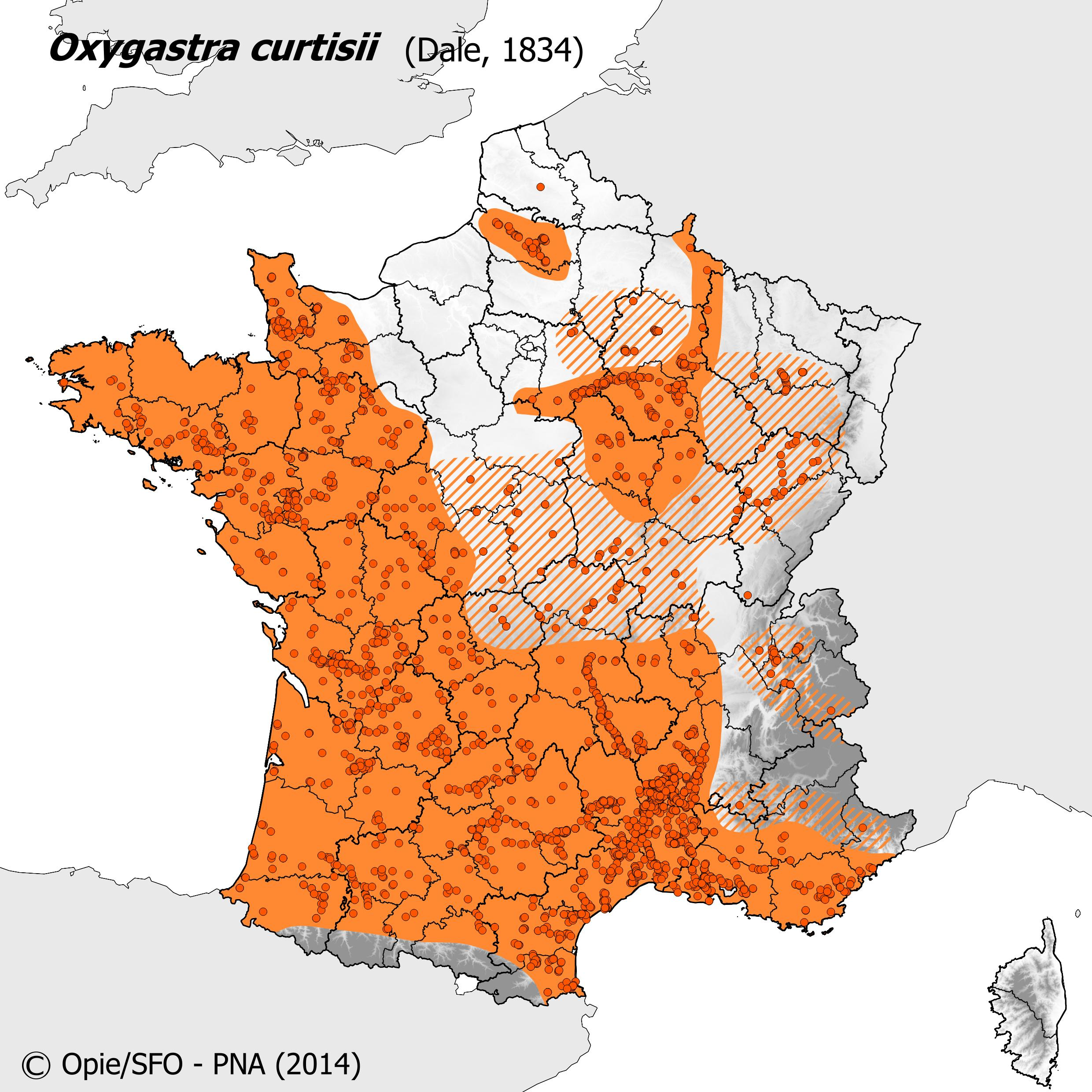 Plan National Actions Odonates | carte de repartition de oxygastra curtisii