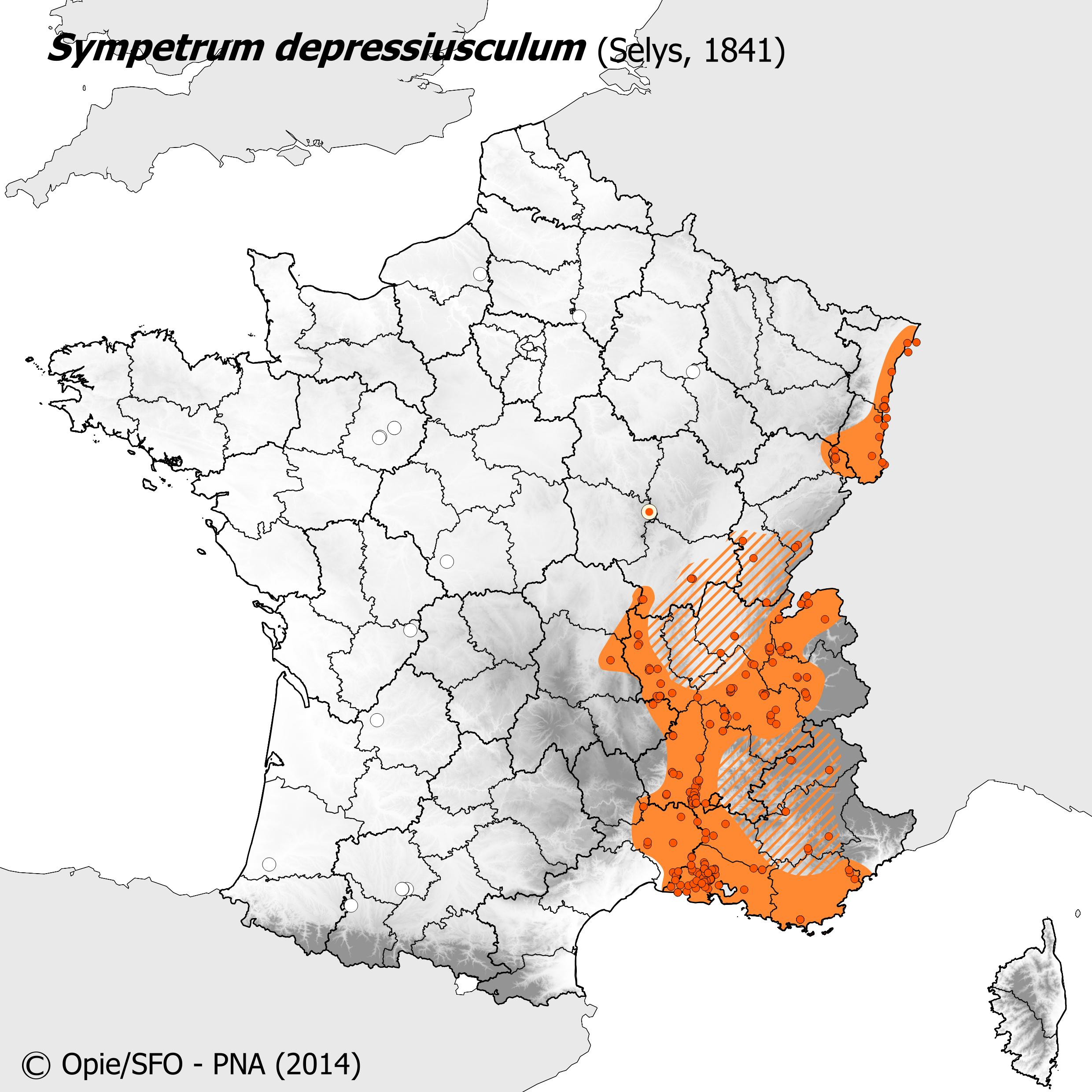 Plan National Actions Odonates | carte de repartition de sympetrum depressiusculum